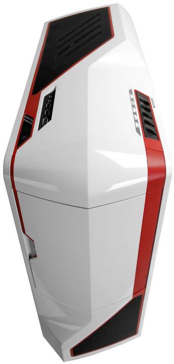 NZXT Phantom, bílá s červenými pruhy