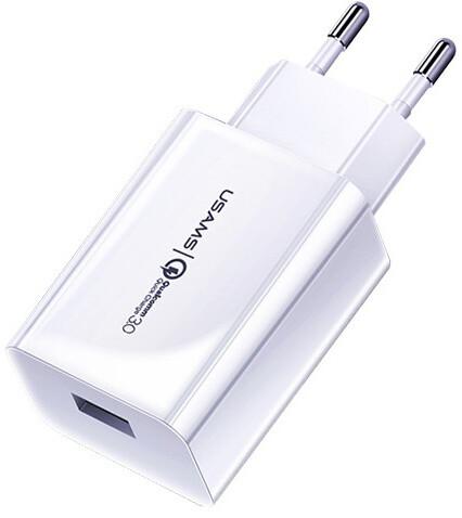 USAMS cestovní nabíječka CC083 Single QC.3 USB, bílá