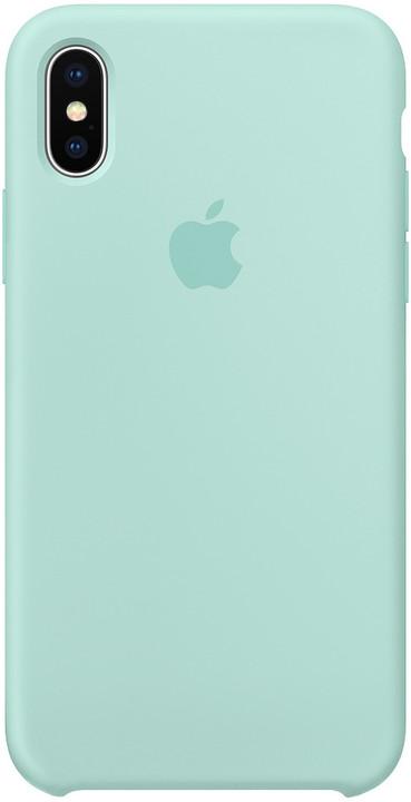 Apple silikonový kryt na iPhone X, brčálově zelený