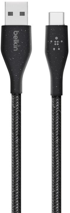Belkin kabel DuraTek USB-A - USB-C, M/M, opletený, s řemínekm, 1.2m, černá
