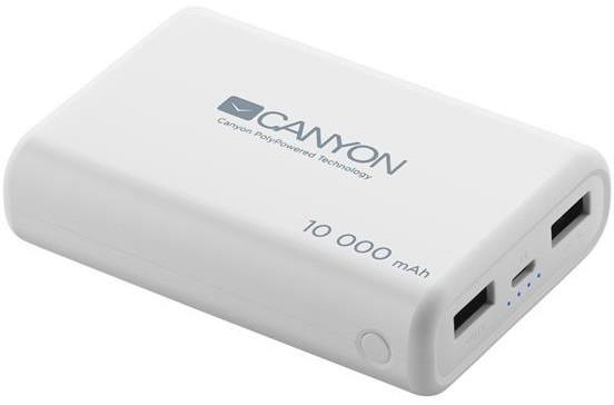 Canyon powerbanka 10000 mAh, Smart IC, 3in1 USB kabel 0.3m, bílá