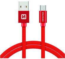 SWISSTEN textilní datový kabel USB A-B micro, 3m, červený - 71527301