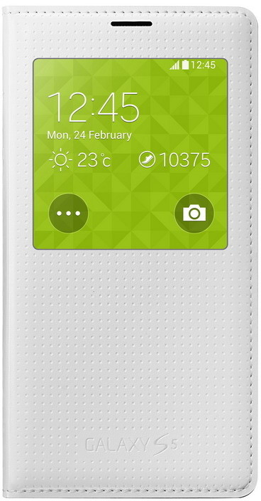 Samsung pouzdro S-view EF-CG900B pro Galaxy S5 (SM-G900), bílá