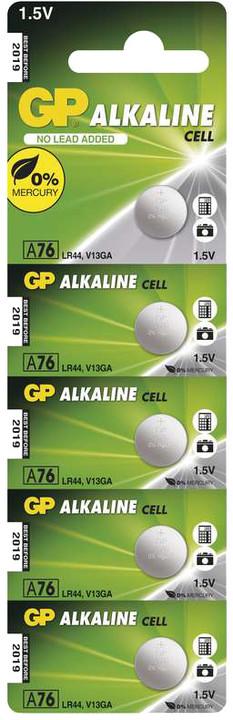 GP knoflíková baterie LR44, alkalická, (A76F), 5 ks