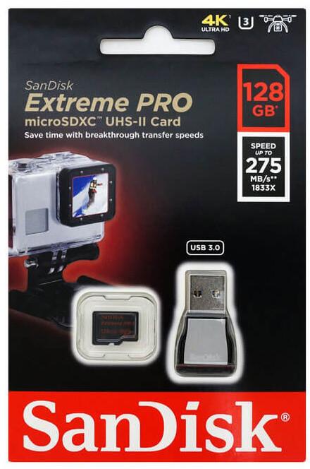 SanDisk Micro SDXC Extreme Pro 128GB UHS-II U3 + čtečka USB 3.0