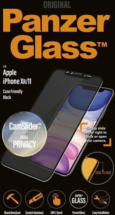 PanzerGlass Edge-to-Edge Privacy pro Apple iPhone Xr/11 s CamSlider, černé