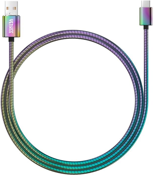 YENKEE YCU 351 nabíjecí kabel USB-C, nerezová ocel, 1m