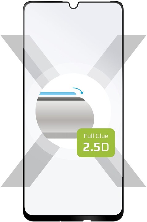 FIXED ochranné tvrzené sklo Full-Cover pro Samsung A20s, lepení přes celý displej, 2.5D, černá