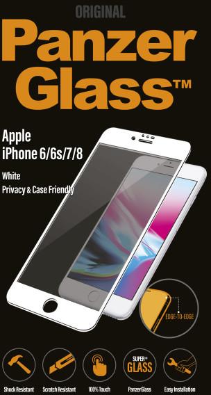 PanzerGlass Edge-to-Edge Privacy pro Apple iPhone 6/6s/7/8, bílé
