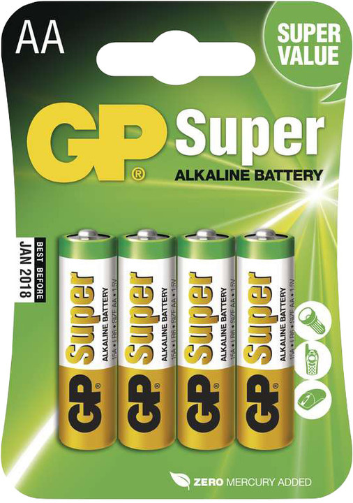 GP Super Value, alkalická, AA, 4ks