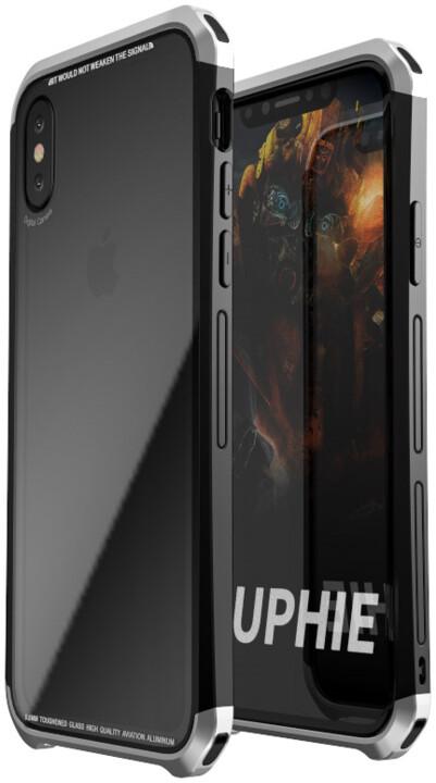 Luphie Double Dragon Alluminium Hard Case pro iPhone X, černo/stříbrná
