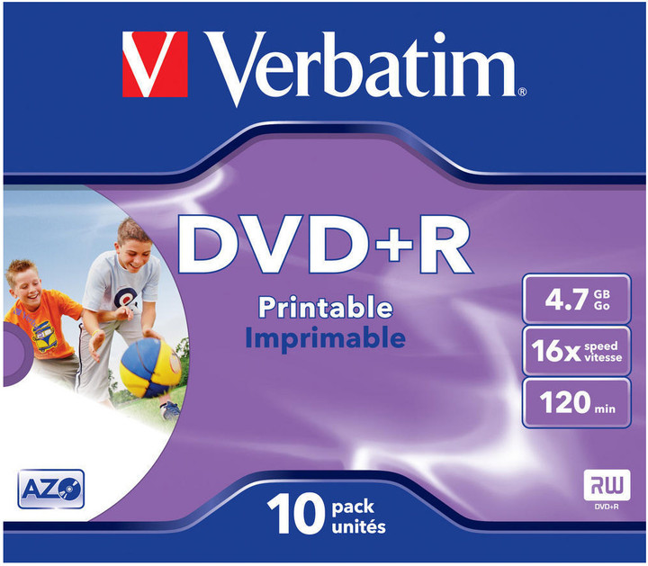 Verbatim DVD+R 4.7GB 4x, 10ks, print, box