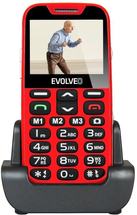 Evolveo EasyPhone XD s nabíjecím stojánkem, Red