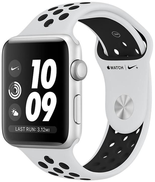Apple Watch series 3 38mm NIKE+ pouzdro stříbrná/platinovo černý řemínek