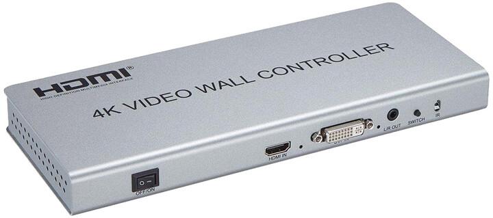 PremiumCord HDMI 1 vstup - 4 výstupy, Video Wall controller