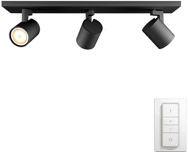 PHILIPS Runner Trojité bodové svítidlo, Hue White ambiance, 230V, 3x5.5W GU10, černá