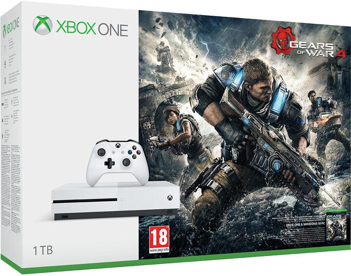 XBOX ONE S, 1TB, bílá + Gears of War 4