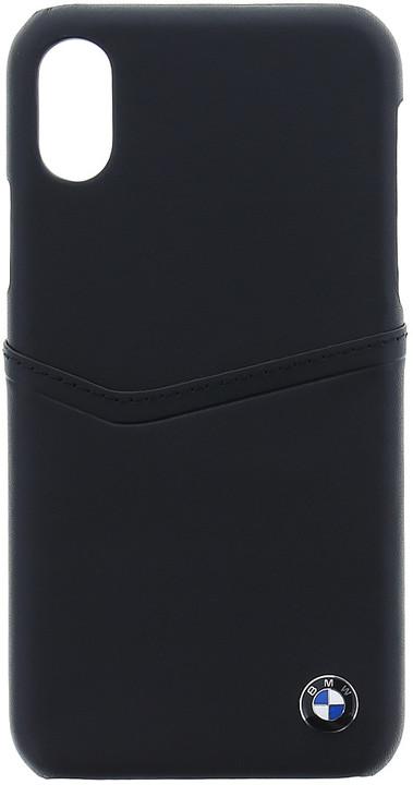 BMW Soft kožený zadní kryt pro iPhone X, černý