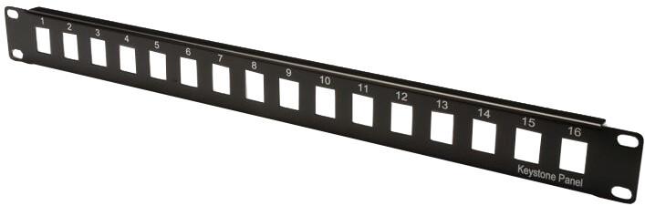 """Digitus Patch Panel, 19"""", 16x RJ45, nestíněný, 1U, RAL 9005, černý"""