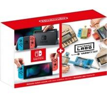 Nintendo Switch (2019), červená/modrá + Nintendo Labo Variety Kit - NSH072