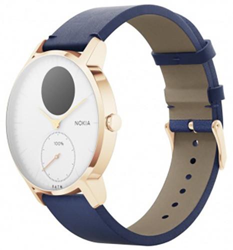 Nokia chytré hodinky Steel HR (36mm) special edition - zlaté s modrým koženým a šedým silikovým řemínkem
