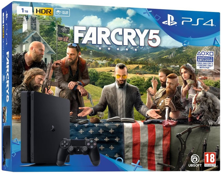 Playstation 4 Slim, 1TB, černá + Far Cry 5