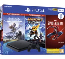 PlayStation 4 Slim, 500GB, černá + Spider-Man, Horizon Zero Dawn, Ratchet & Clank