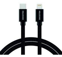 SWISSTEN textilní datový kabel USB-C - Lightning, 1,2m černý