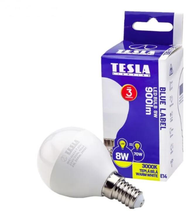 Tesla LED žárovka miniglobe BULB, E14, 8W, 3000K, teplá bílá