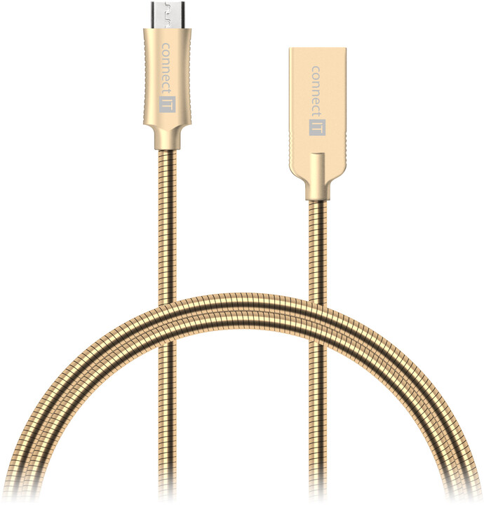 CONNECT IT Wirez Steel Knight Micro USB - USB, metallic gold, 2,1 A , 1 m