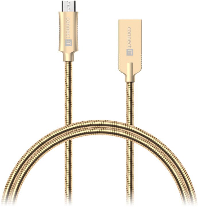 CONNECT IT Wirez Steel Knight Micro USB - USB, metallic gold, 2,1 A , 1 m
