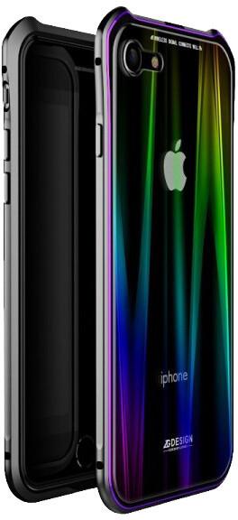Luphie Aurora Magnet Hard Case Glass pro iPhone 7/8, černo/fialová
