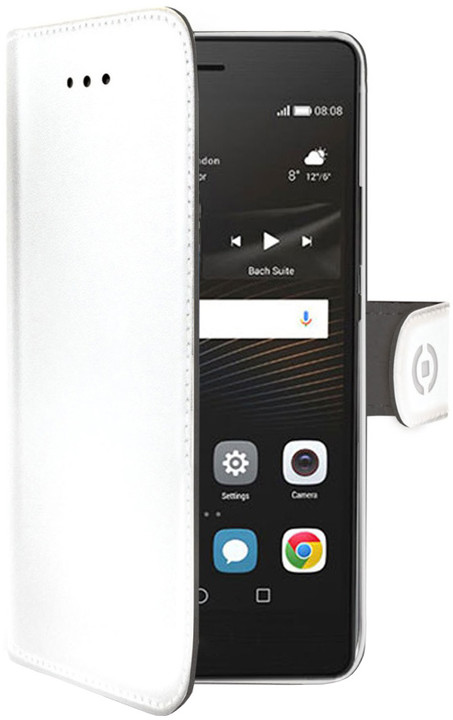 CELLY Wally pouzdro typu kniha pro Huawei P9 Lite, PU kůže, bílé