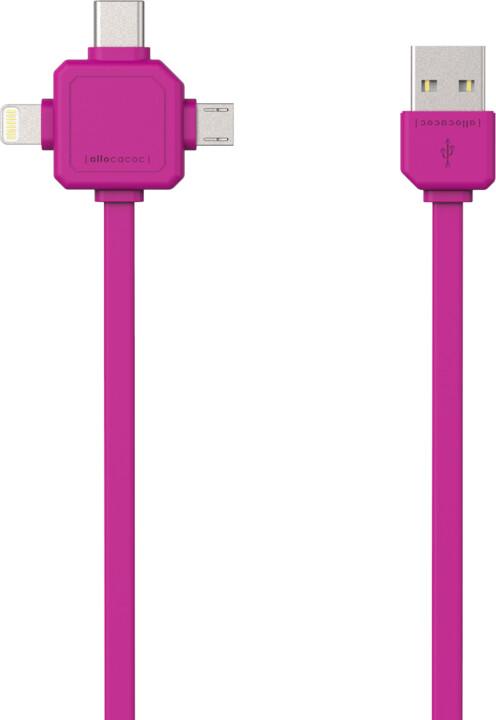 PowerCube Cable 1.5m, USB-C, růžový