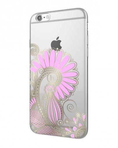 EPICO pružný plastový kryt pro iPhone 6/6S HOCO FLOWERS - transparentní bílá/růžová