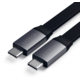 Satechi plochý kabel USB-C - USB-C Gen 2, 0.24m, šedá