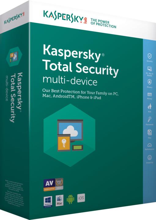 Kaspersky Total Security multi-device 2017 CZ pro 3 zařízení na 24 měsíců, obnovení licence