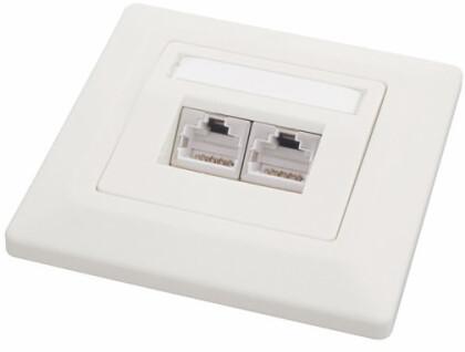 Zásuvka na zeď Cat.6, 2xRJ45 na omítku, bílá