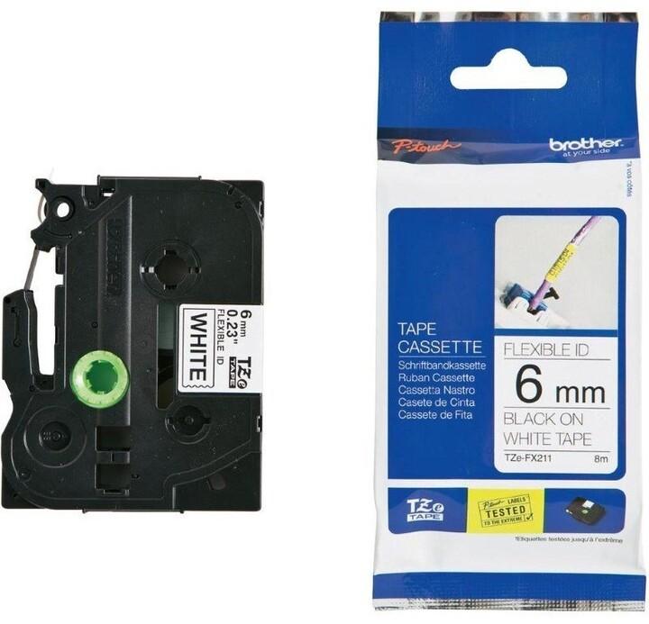 Brother TZE-FX211, bílá / černá, 6mm