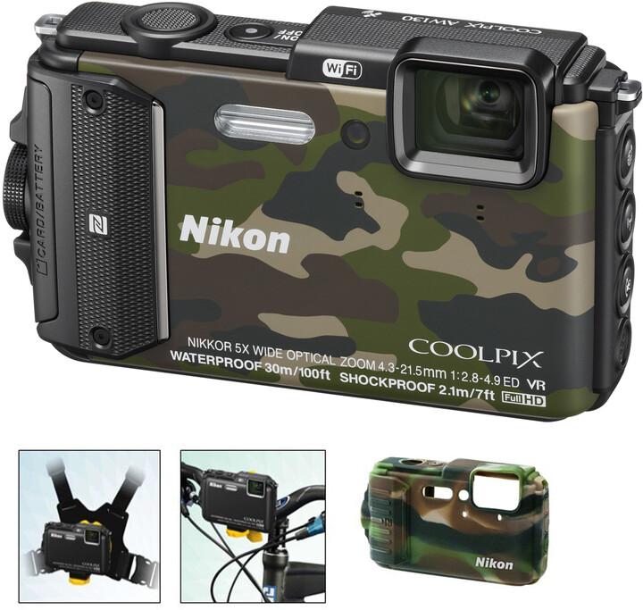 Nikon Coolpix AW130, Outdoor Kit, camouflage