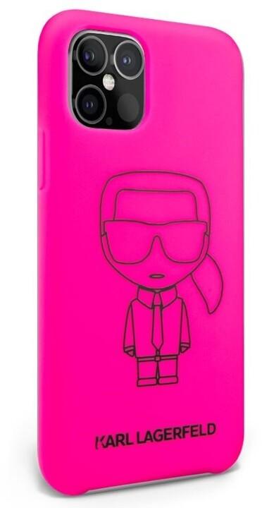 """KARL LAGERFELD silikonový kryt Iconic Outline pro iPhone 12/ 12 Pro (6.1""""), růžová"""