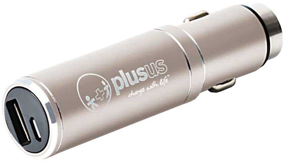 PlusUs Life2Go 2-in-1 Car charger + 1,000 mAh PowerBank MicroUSB - Light Gold
