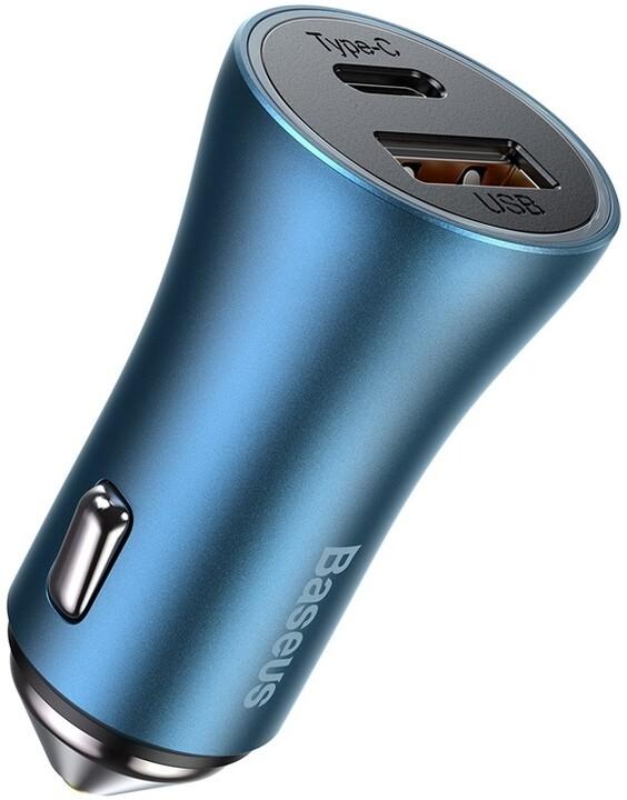Baseus nabíječka do auta Golden Contactor Pro, USB-C, USB-A, QC, 40W, modrá