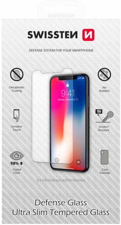 SWISSTEN ochranné sklo pro iPhone 12/12 Pro, 2.5D, čirá