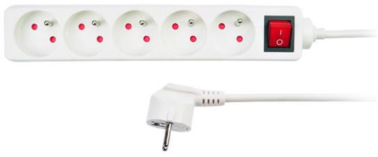 Solight prodlužovací přívod, 5 zásuvek, vypínač, 3m, bílá