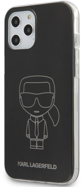 Karl Lagerfeld ochranný kryt Metallic Iconic Outline pro iPhone 12 Pro Max, černá