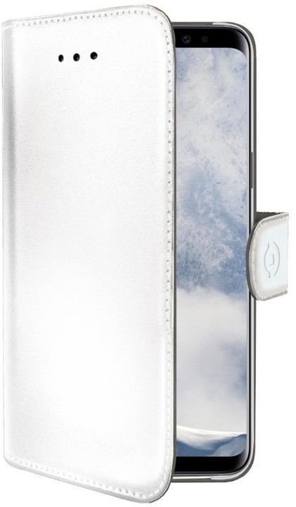 CELLY Wally pouzdro typu kniha pro Samsung Galaxy S9, PU kůže, bílé