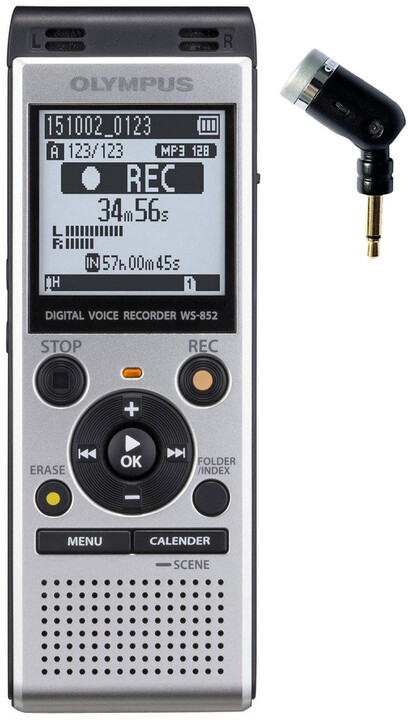 Olympus WS-852, stříbrná + mono mikrofon ME-52