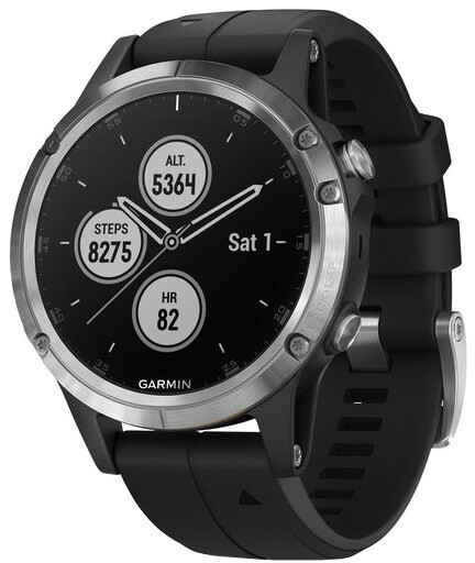 GARMIN fenix5 Plus, Silver with Black Band