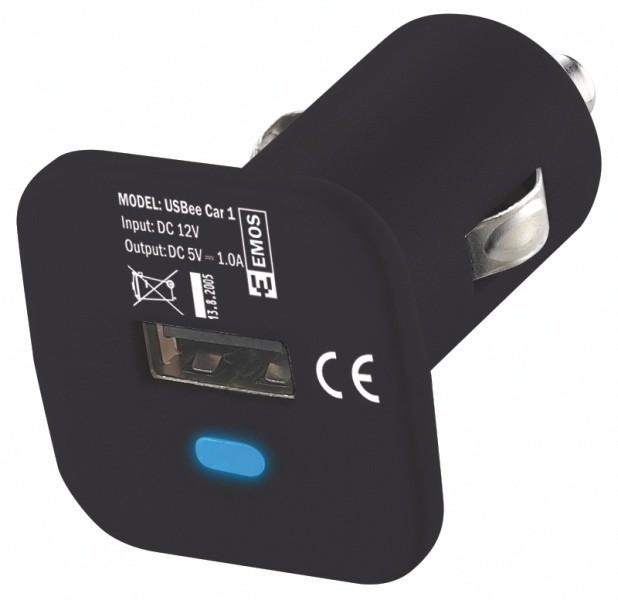Emos USB nabíječka do autozásuvky 1x1.0A, černá